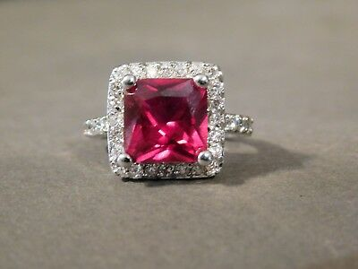 Silvertone Ruby Red & Clear Rhinestone Halo Cocktail Ring Size 9