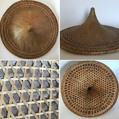 Vintage Handmade Asian Bamboo Woven Coolie Rice Paper Layer Farmer Garden Hat