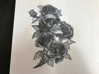Multilayer airbrush stencil Skull and roses 2