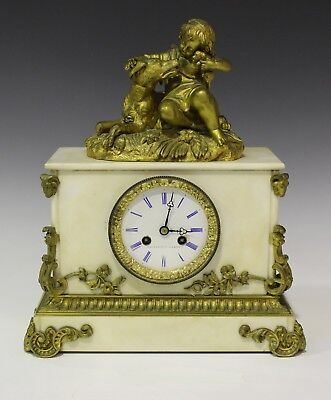 Raingo Frères 19th century French ormolu and white marble mantel clock