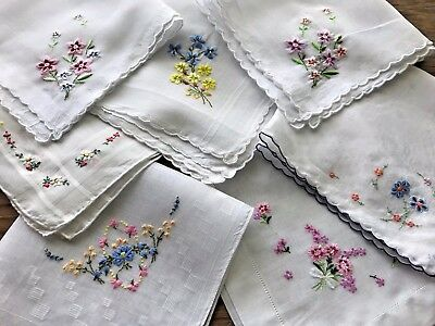 A+ Vintage Lot 7 Cotton Handkerchiefs Swiss Style Embroidered Flowers