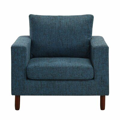 Superb Classic Dark Blue Tufted Linen Fabric Arm Chair Modern Caraccident5 Cool Chair Designs And Ideas Caraccident5Info