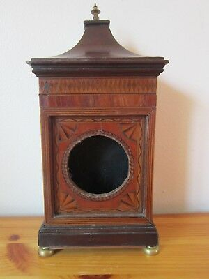 Small Edwardian  Walnut Inlaid Mantle Clock Case,   Nice