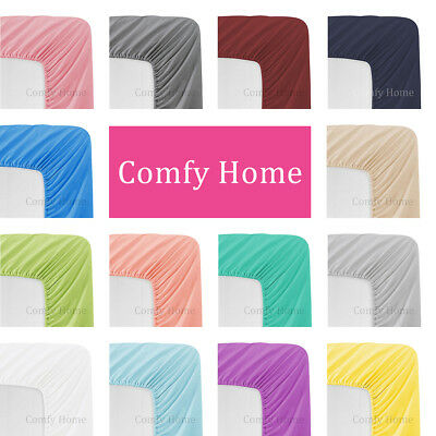 Comfy Home Microfiber Solid Color Bottom Fitted Sheet  All Seasons - Deep Pocket