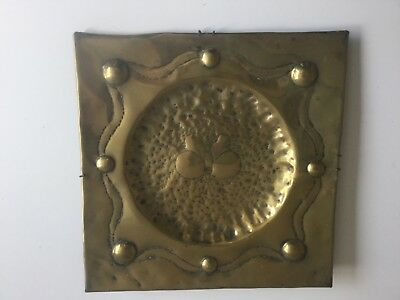 "Arts and crafts copper square charger plate butterfly 12"" x 12"""