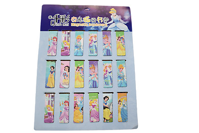 2x Novelty Princess Disney Cinderella Snow White Magnetic Bookmark Page Markers