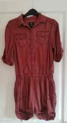 river island rust red denim style playsuit size 8