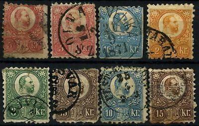 Hungary 1871-73, 8 Used Stamps Cat £460+ #D73050