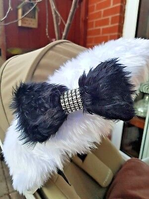 Fur Bow with Diamante Effect for Hood Fur Trim Accessories Pram Buggy Black