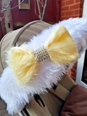 Fur Bow with Diamante Effect for Hood Fur Trim Accessories Pram Buggy Yellow