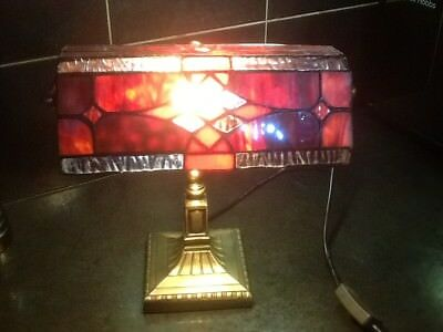 Super Art Deco style Desk Lamp with leaded glass shade