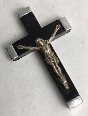 Vintage Crucifix Rosary Cross Black & Silver Holy Water Mid Century