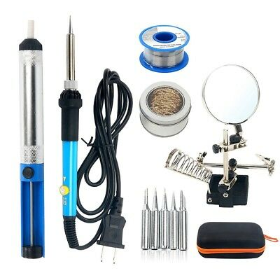 5pcs 60W 110V Electric Soldering Iron Kit, Welding Iron, Magnifier Station