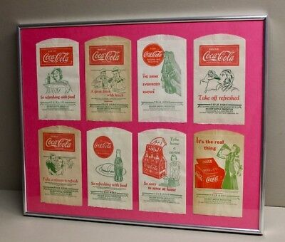 Vintage COCA-COLA DRY SERVER BOTTLE PROTECTOR Lot of 8 Framed 1930s 1940s Coke