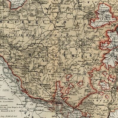 Germany Herzogthum Holstein detailed 1867 Meyer small old map