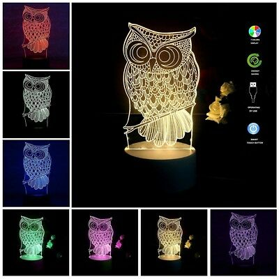 Owl USB Powered 7 Colors Amazing Optical Illusion 3D Glow LED Lamp for gifts