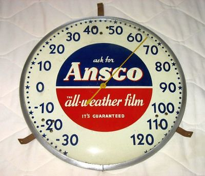 Vtg Advertising ANSCO CAMERA FILM Photograph ROUND GLASS THERMOMETER Sign USA