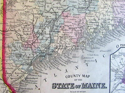 Maine state 1860 Mitchell fine early version old map hand color Portland inset