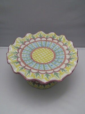 """Mackenzie Childs Fluted MADISON 12"""" Pedestal Cake Plate Stand Tray"""