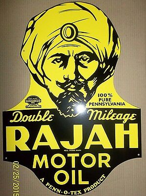 "Rajah Motor Oil Sign, 17"" x 24"" Heavy Steel Great Color & Shine Porcelain Feel"