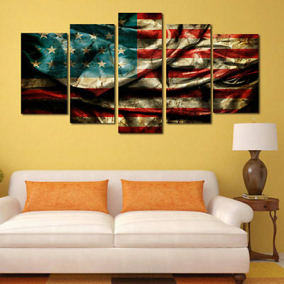 5PCS 3D Eagles Motorcycle Oil Painting Canvas Art Frameless Pictures ...