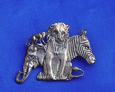 Vintage Sterling Silver 925 pin Lion Zebra Elephant wildlife jungle gorgeous!*