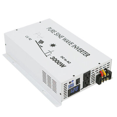 3000w 12V to 120V Power Inverter Pure Sine Wave Inverter DC  AC Converter white