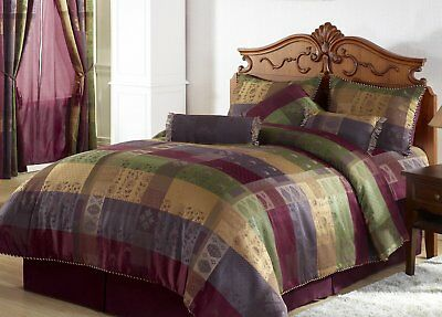 Chezmoi Collection Gitano Jacquard Patchwork 7-Piece Bedding Set, Full/Double,
