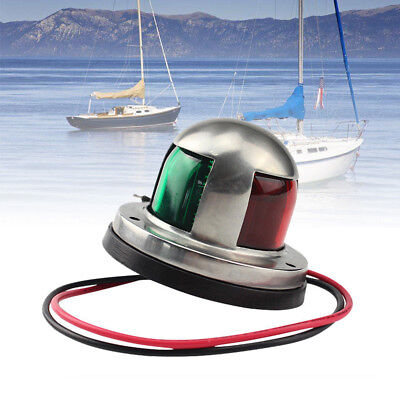 New 12V Green&Red Stainless Steel Marine Boat Yacht Bow Navigation LED Light