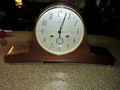 Vintage Elgin national mantel clock, with key, old clock, good condition.