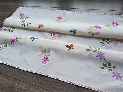 Beautiful Vintage Hand Embroidered Tablecloth with Flowers and Butterflies