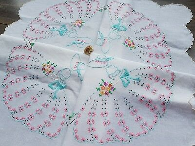 Sweet Vintage Hand Embroidered Linen Tablecloth with Crinoline Ladies