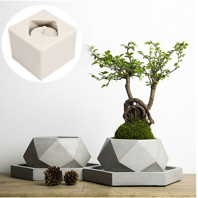 New Silicone Mold Geometric Flower Pots Concrete Cement 3D Vase Handmade Tool