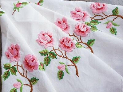 SUPERB Vintage Hand Embroidered Linen Tablecloth with Roses