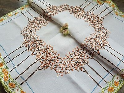 GORGEOUS Vintage Hand Embroidered Linen Tablecloth with Trees and Daisies