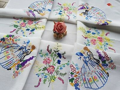 Wonderful Vintage Hand Embroidered Linen Tablecloth with Crinoline Ladies