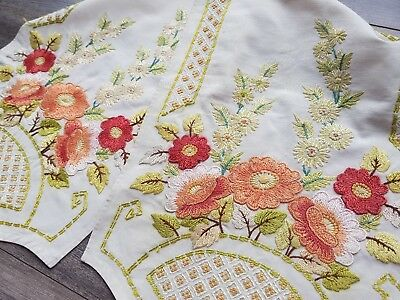 Rare Vintage Hand Embroidered Linen Table Runner with Flowers