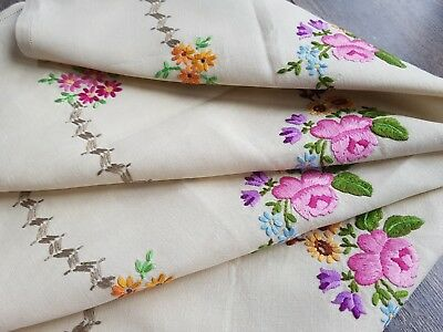 STUNNING Vintage Hand Embroidered Linen Tablecloth with Roses