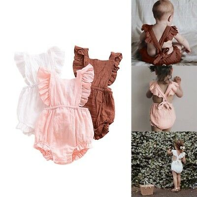 Newborn Baby Girls Cotton Linen Romper Jumpsuit Summer Bowknot Backless Outfits