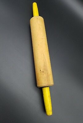 Vintage Wood Rolling Pin with Yellow Painted Handles - Great Condition!