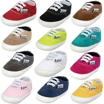 Newborn Baby Girl Boy Soft Sole Shoes Anti Slip Canvas Sneaker Prewalker 0-18M