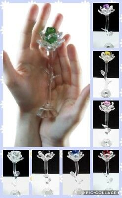 Beautiful 140 mm Crystal Glass Stem Purple Rose Flower - Gift Boxed