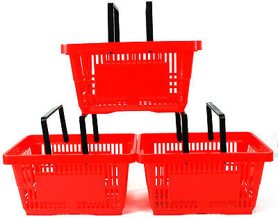 2 Handle Red Plastic Shopping Basket Retail Supermarket Use Hand Carry