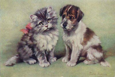 JRT Puppy Dog & Kitten 1930's by Persis Kirmse LARGE New Blank Note Cards
