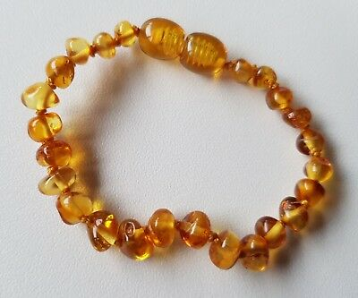 Baby Baltic amber bracelet - honey baroque beads, 13-14cm.,2g.