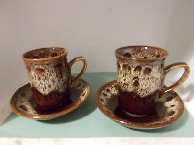 Fosters Pottery Honeycomb cups and saucers x 2 (c)