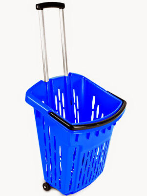 Value Plastic Shopping Trolley Basket (38L) Blue. On Wheels Castors.