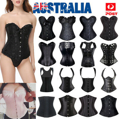 Black Steampunk Adult Valentine's Day Lace up Corset Overbust Bustier Top