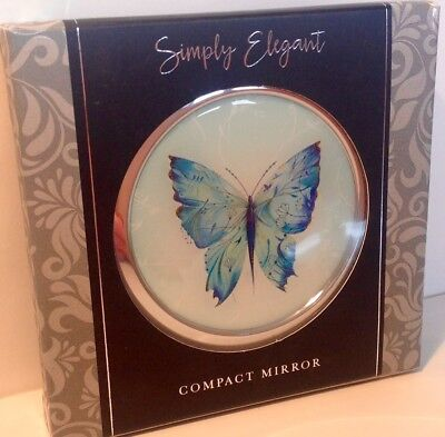 Simply Elegant Painted Silk Butterfly Double Compact Mirror