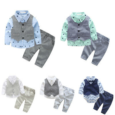 3PCS Baby Boys Wedding Formal Tuxedo Long Sleeve Romper Shirt Vest Pants Outfits